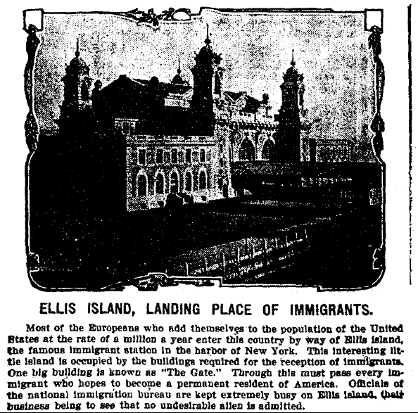 Ellis Island, Landing Place of Immigrants, Evening Times newspaper article 16 July 1907