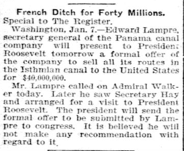article about the French selling their Panama Canal project to the U.S., Forth Worth Morning Register newspaper article 8 January 1902