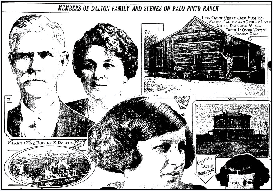 pictures of the Dalton family and their log cabin, Fort Worth Star-Telegram newspaper article 16 July 1922