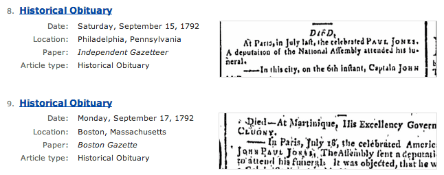 "screenshot of GenealogyBank's search results page for a search on ""John Paul Jones"""