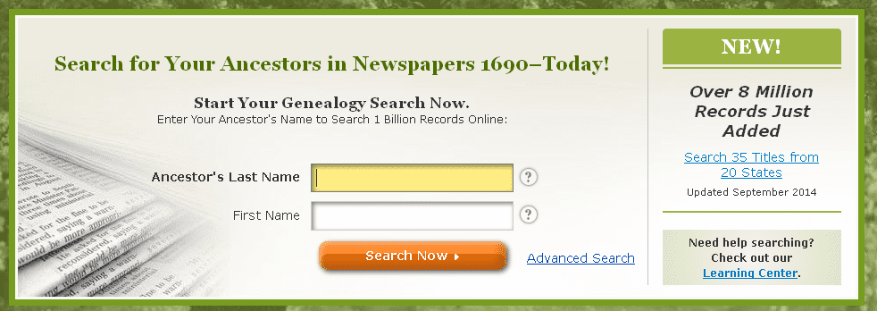 screenshot of GenealogyBank's home page showing announcement that 8 million more genealogy records have been added