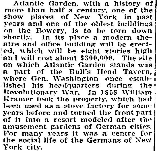 article about Manhattan's Atlantic Garden tavern, Grand Forks Daily Herald newspaper article 20 August 1911