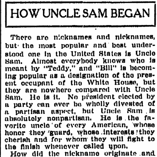 How Uncle Sam Began, Grand Rapids Press newspaper article 23 July 1910
