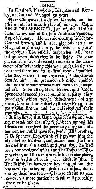 obituary for Ambrose Spencer, Green Mountain Farmer newspaper article 30 August 1814