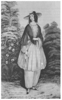 "illustration of ""bloomer"" dress of the 1850s"