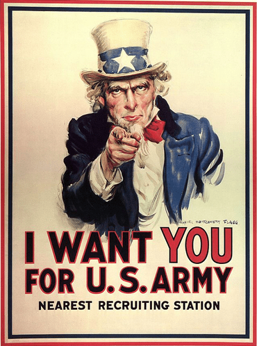 World War I recruiting poster featuring Uncle Sam, by James Montgomery Flagg, 1916-1917