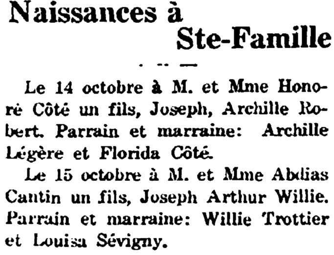 birth announcements, Justice de Sanford newspaper article 25 October 1928