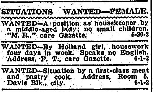 situation wanted-female ads, Kalamazoo Gazette newspaper advertisements 1 June 1906