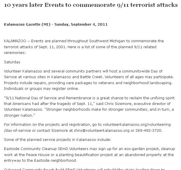 10 Years Later -- Events to Commemorate 9-11 Terrorist Attacks, Kalamazoo Gazette newspaper article 4 September 2011