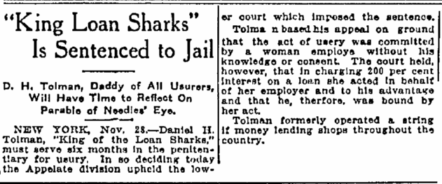 article about D. H. Tolman being sentenced for loan sharking, Macon Telegraph newspaper article 30 November 1913