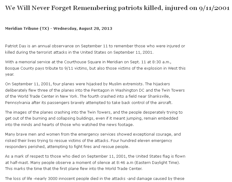 We Will Never Forget -- Remembering Patriots Killed, Injured on 9-11-2001, Meridian Tribune newspaper article 28 August 2013
