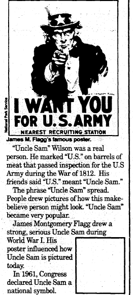 article about James Flagg and Uncle Sam, Mobile Register newspaper article 29 June 1992