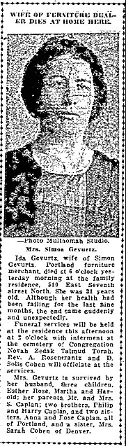 obituary for Ida Gevurtz, Morning Oregonian newspaper article 26 April 1921