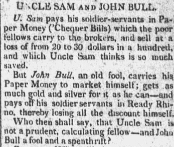 Uncle Sam and John Bull, New-York Gazette newspaper article 6 December 1814