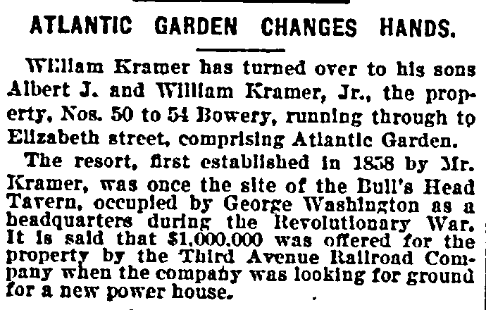 Atlantic Garden Changes Hands, New York Herald newspaper article 3 January 1895