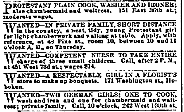 help wanted-female ads, New York Herald newspaper advertisements 1 October 1885