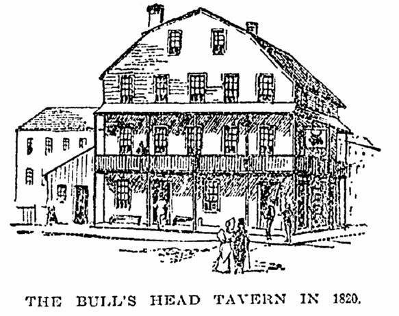 illustration of Manhattan's Bull's Head Tavern, New York Herald-Tribune newspaper article 11 October 1894