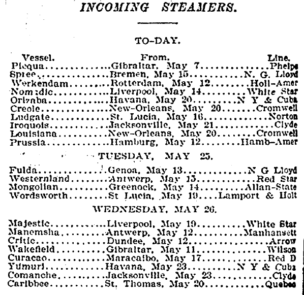 Incoming Steamers, New York Tribune newspaper article 24 May 1897