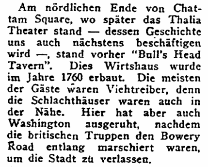 article about Manhattan's Bull's Head Tavern, New Yorker Volkszeitung newspaper article 23 November 1919