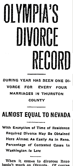 Olympia's Divorce Record, Olympia Daily Recorder newspaper article 27 December 1915