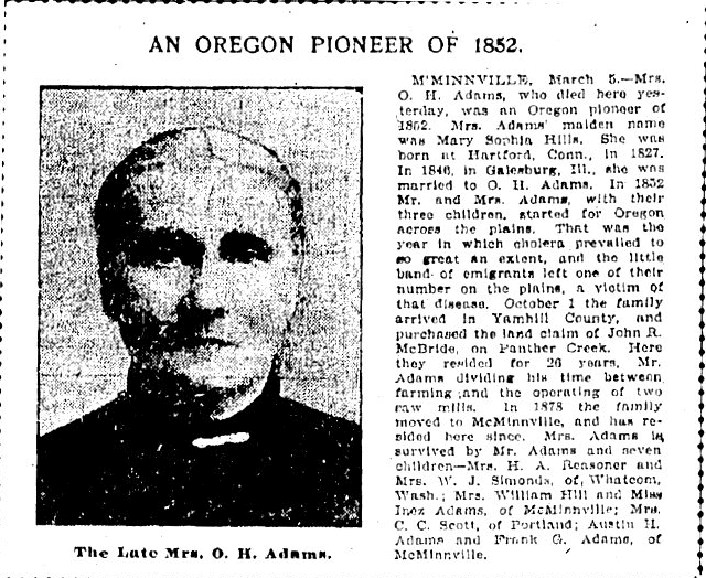obituary for Mrs. O. H. Adams, Oregonian newspaper article 6 March 1902