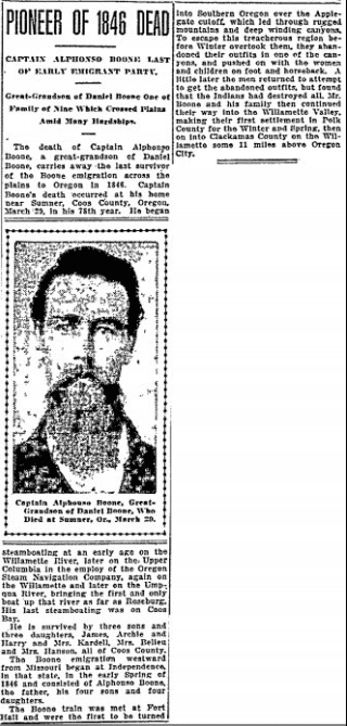 obituary for Alphonso Boone, Oregonian newspaper article 4 April 1915