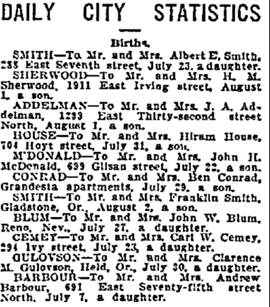 birth announcements, Oregonian newspaper article 6 August 1912