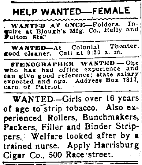 help wanted-female ads, Patriot newspaper advertisements 26 November 1915