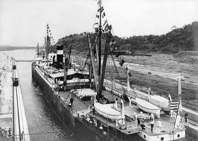 photo of the SS Ancon passing through the Panama Canal on 15 August 1914, the first ship to use the canal