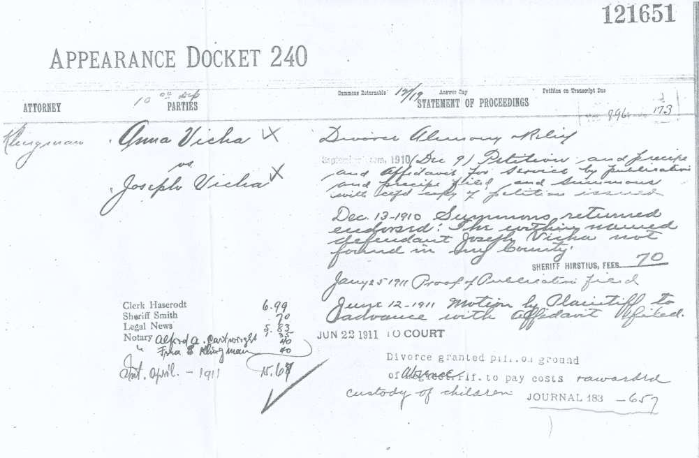 photo of the divorce record for Anna Knechtl and Joseph K. Vicha