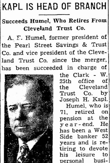 Kapl Is Head of Branch, Plain Dealer newspaper article 8 January 1943