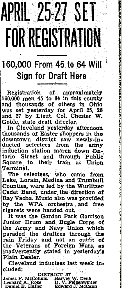 article about WWII registration of soldiers, Plain Dealer newspaper article 5 April 1942