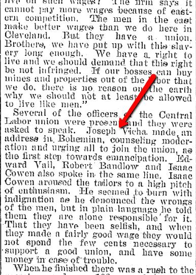 article about Joseph Vicha, Plain Dealer newspaper article 27 April 1896