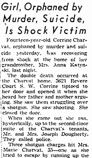 Girl (Corrine Charvat), Orphaned by Murder, Suicide, Is Shock Victim, Plain Dealer newspaper article 21 July 1951