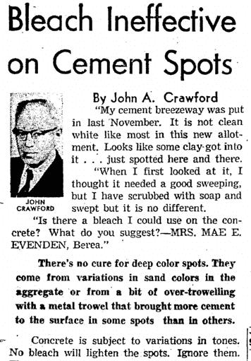 Bleach Ineffective on Cement Spots, Plain Dealer newspaper article 2 September 1961