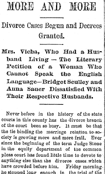 More and More Divorce Cases Begun and Decrees Granted, Plain Dealer newspaper article 11 October 1890