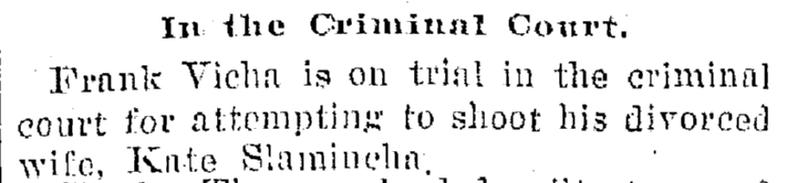 article about Frank Vicha's trial for attempted murder, Plain Dealer newspaper article 10 December 1895