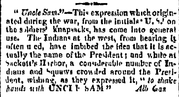 article about Uncle Sam, Providence Patriot newspaper article 23 August 1817