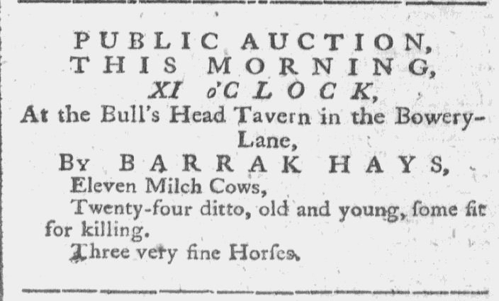 ad for a livestock auction, Royal American Gazette newspaper advertisement 8 August 1780
