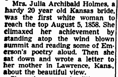 article about Julia Archibald Holmes, Sacramento Bee newspaper article 10 August 1950