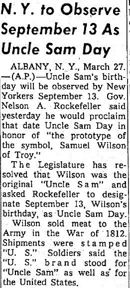 N.Y. to Observe September 13 as Uncle Sam Day, Seattle Daily Times newspaper article 27 March 1959
