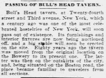 Passing of Bull's Head Tavern, Springfield Republican newspaper article 24 May 1905