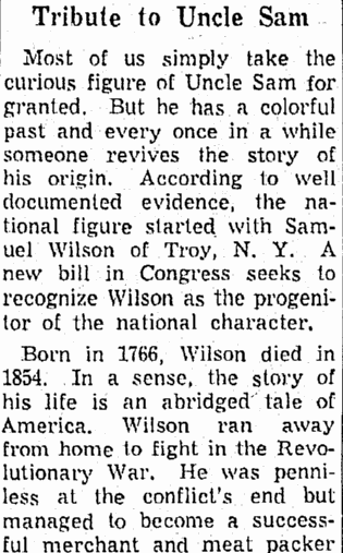 Tribute to Uncle Sam, Springfield Union newspaper article 9 July 1961