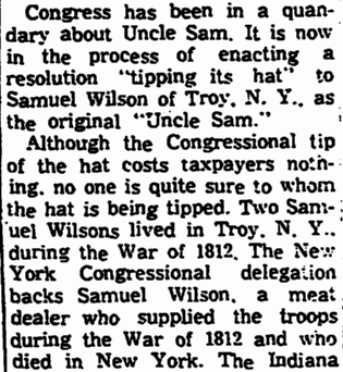 article about Uncle Sam, Trenton Evening Times newspaper article 6 September 1961