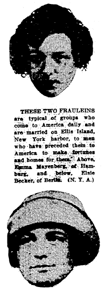 article about immigrants Emma Mayenberg and Elsie Becker, Trenton Evening Times newspaper article 13 October 1922