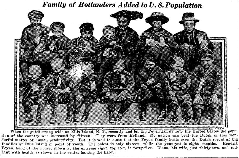 Family of Hollanders (the Feyen family) Added to U.S. Population, Twin Falls News newspaper article 26 April 1921