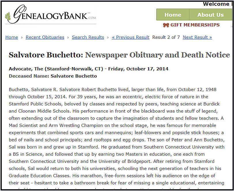 obituary for Salvatore Buchetto, Advocate newspaper article 17 October 2014