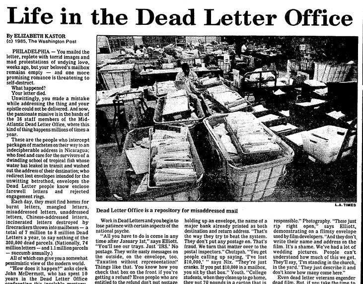 "article about the post office's ""dead letter office,"" Advocate newspaper article 1 November 1985"