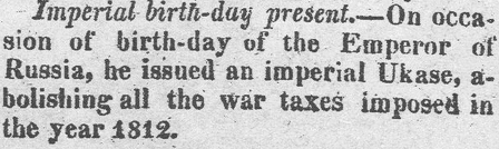 article about the Emperor of Russia's birthday, Arkansas Weekly Gazette newspaper article 20 May 1820
