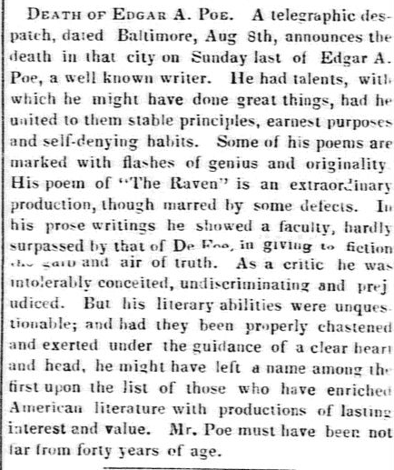 obituary for Edgar Allan Poe, Boston Evening Transcript newspaper article 9 October 1849